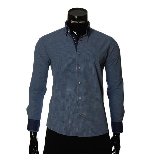 Мужская приталенная рубашка в узор MM 1966-5