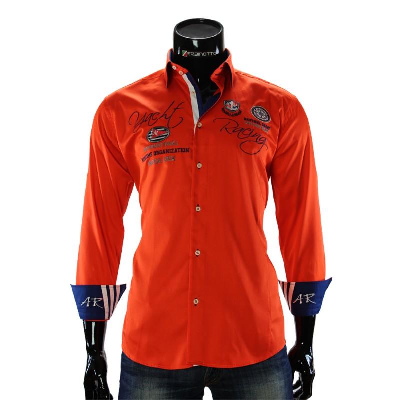 Мужская однотонная рубашка в стиле нотикал ARM 2018-1
