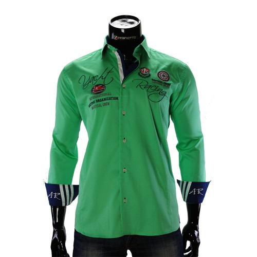 Lime Green Satin Cotton Nautical Shirt ARM 2018-2