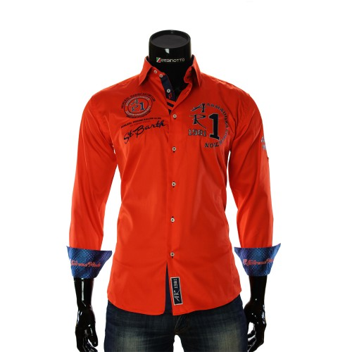 Terracotta Satin Cotton Nautical Shirt ARM 2018-6