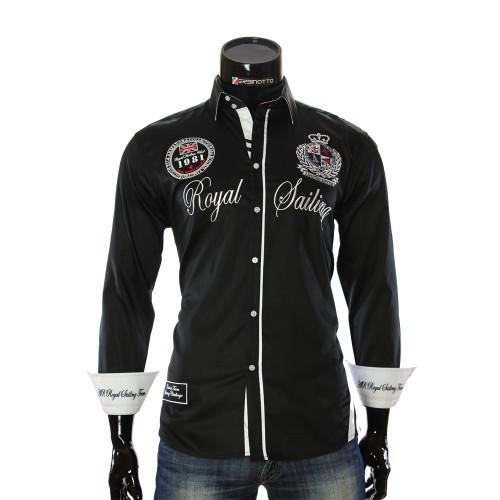 Black Satin Cotton Nautical Shirt ARM 2018-7