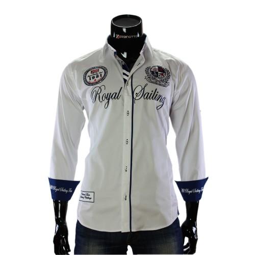 Мужская однотонная рубашка в стиле нотикал ARM 2018-8