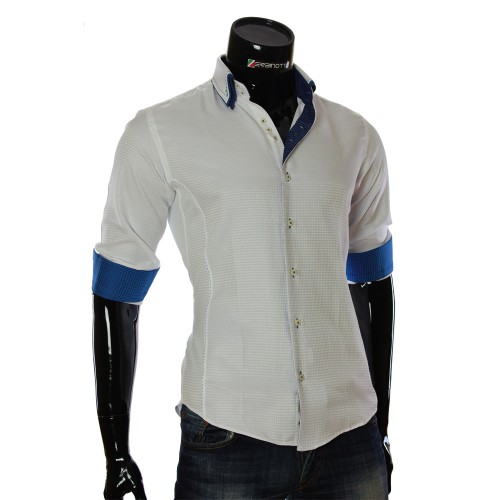 Мужская приталенная рубашка в узор MM 1967-1