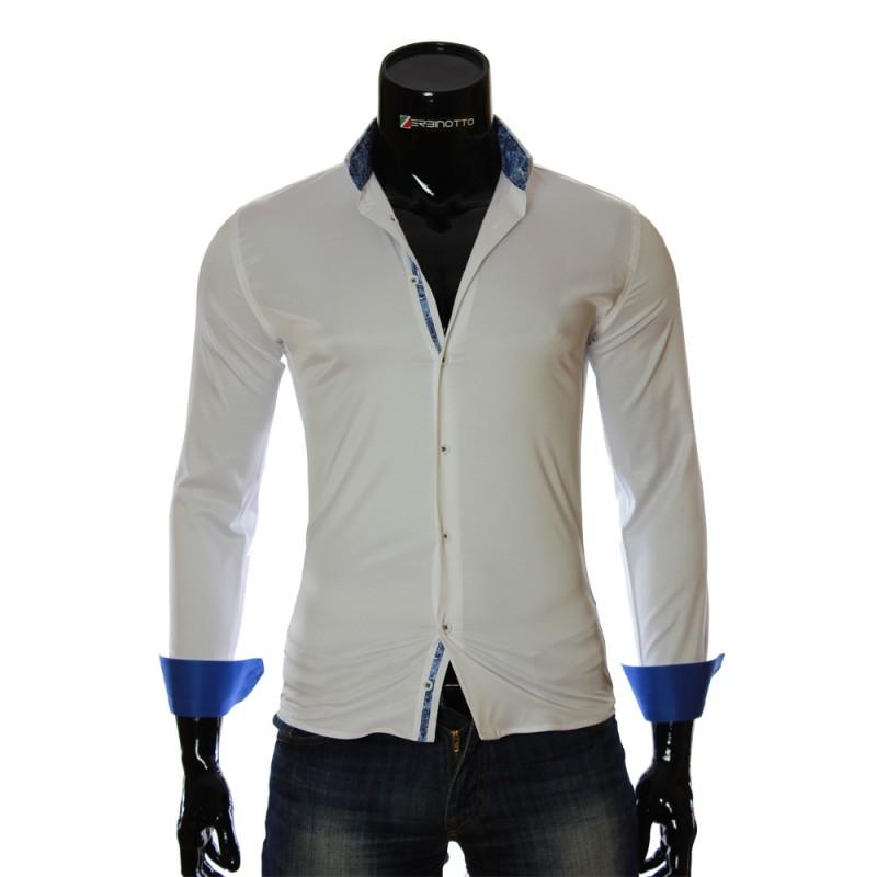 Мужская однотонная приталенная рубашка NP 7051-1