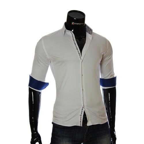 Мужская однотонная приталенная рубашка NP 7051-2