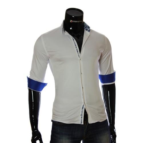 Мужская однотонная приталенная рубашка NP 7051-3