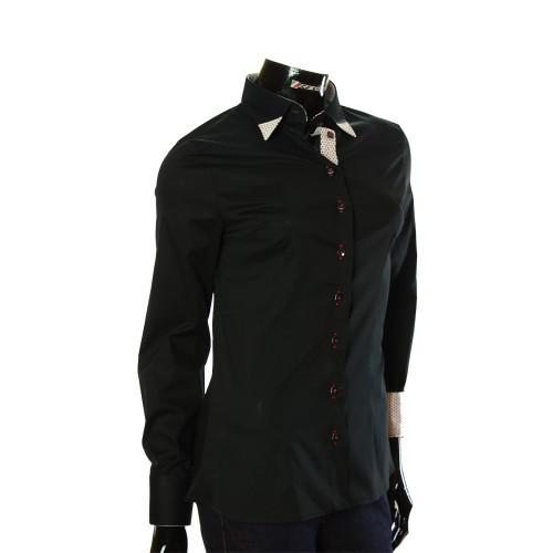 Женская однотонная приталенная рубашка LF 0011-1