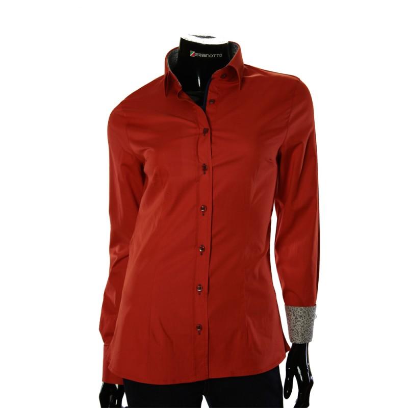 Женская однотонная приталенная рубашка LF 0019-2