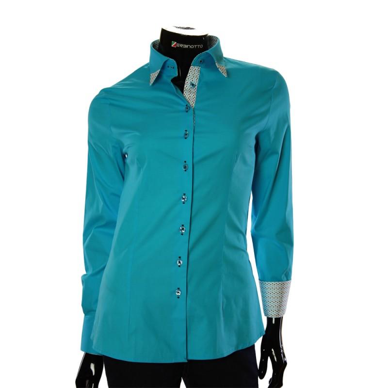 f1a43032c0f Женская бирюзовая рубашка с двойными манжетами.
