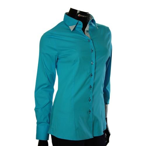 Женская однотонная приталенная рубашка LF 0011-2