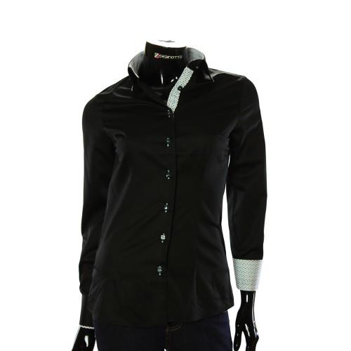 Black Satin Cotton Shirt LF 0020-2