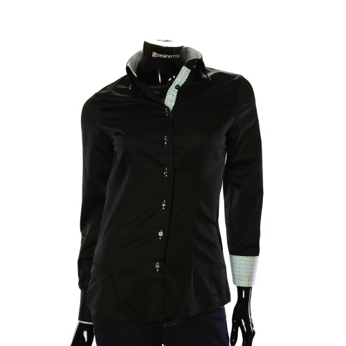 Black Satin Cotton Shirt LF 0020-2