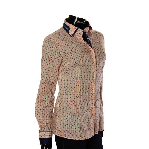 Женская приталенная рубашка в узор LF 1031-3