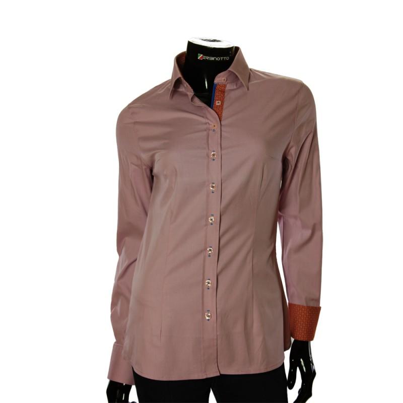 Женская однотонная приталенная рубашка LF 0001-46
