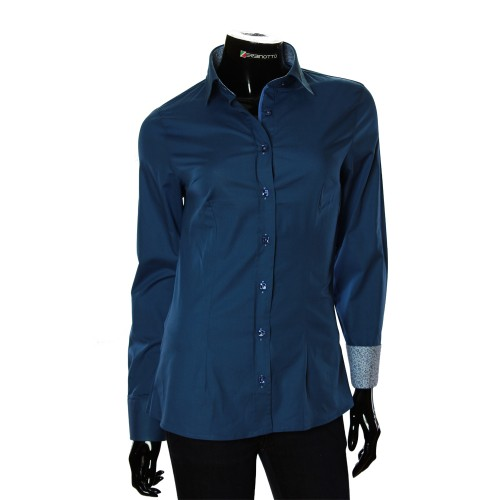 Женская однотонная приталенная рубашка LF 0019-43