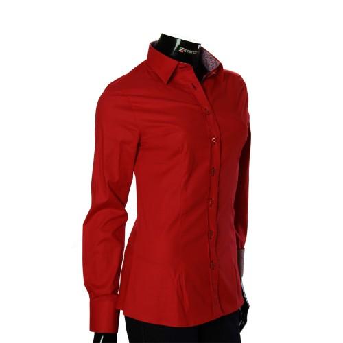 Женская однотонная приталенная рубашка LF 0019-35