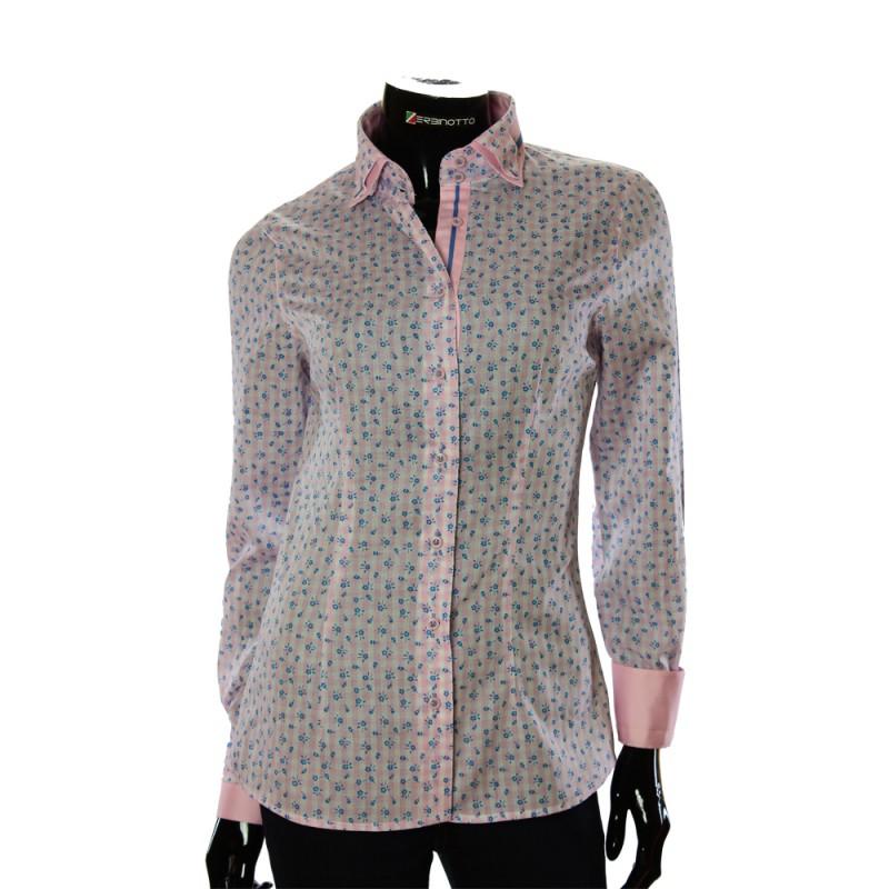 Женская приталенная рубашка в узор LF 1031-1