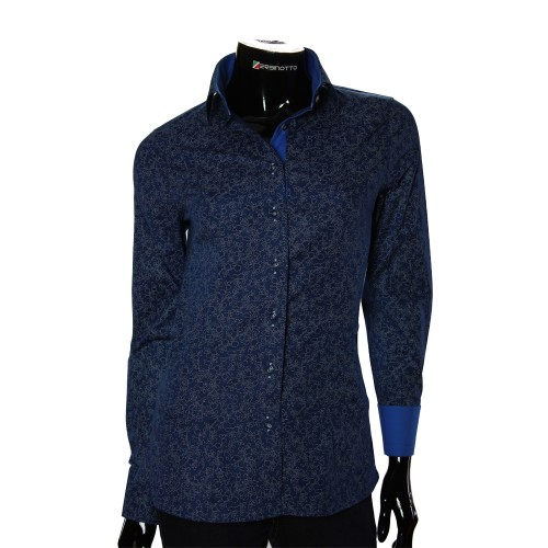 Stretch Cotton Navy Pattern Shirt LF 1031-4
