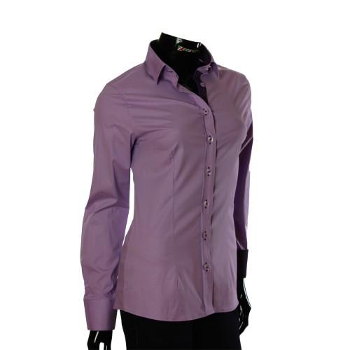 Женская однотонная приталенная рубашка LF 0001-53