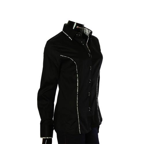 Женская однотонная приталенная рубашка LF 0017-1