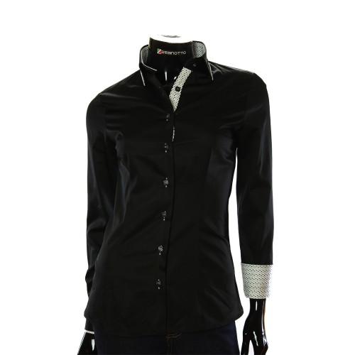 Satin Cotton Black Shirt LF 0020-1