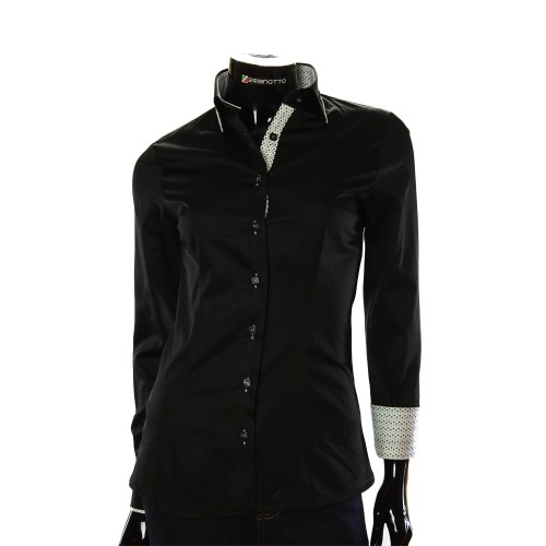 Satin Cotton Black Shirt LF 0020-1
