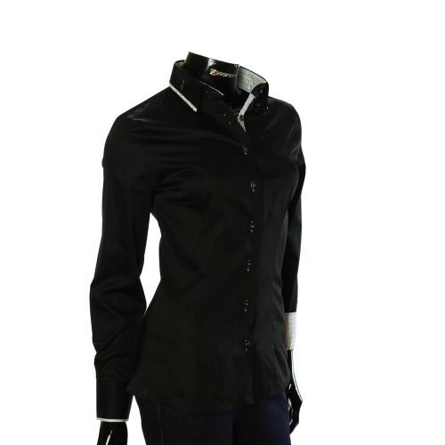 Женская однотонная приталенная рубашка LF 0020-1