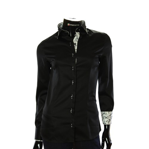 Satin Cotton Black Shirt LF 0020-3