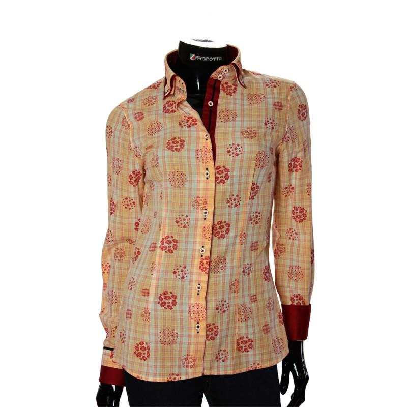 Женская приталенная рубашка в узор LF 1031-2