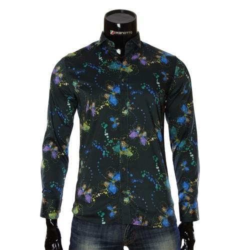 Мужская приталенная рубашка в узор LF 7055-1
