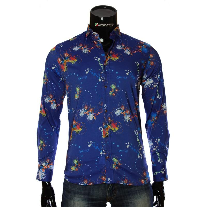 Мужская приталенная рубашка в узор LF 7055-2