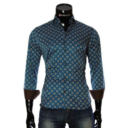 Мужская приталенная рубашка в узор LF 7055-3