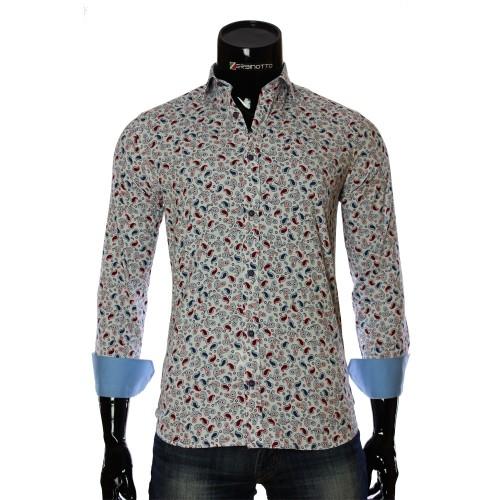 Мужская приталенная рубашка в узор LF 7055-4