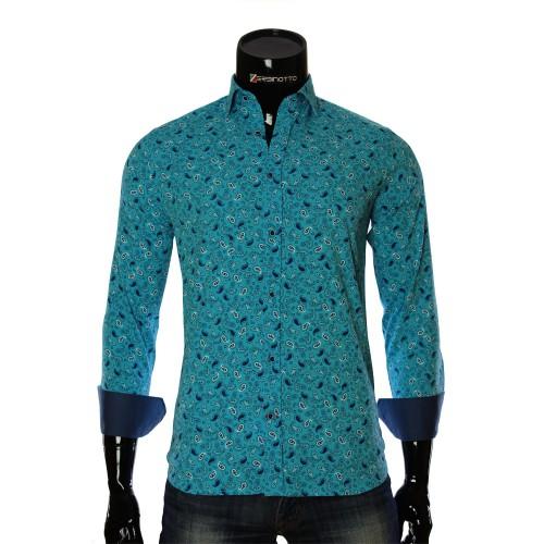 Мужская приталенная рубашка в узор LF 7055-5