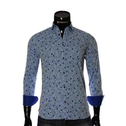 Мужская приталенная рубашка в узор LF 7055-6