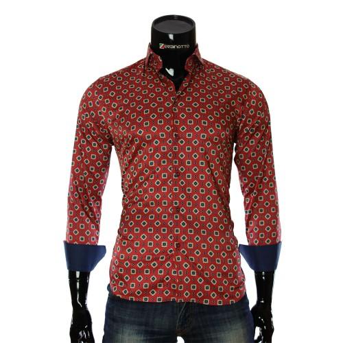 Мужская приталенная рубашка в узор LF 7055-7