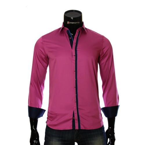 Мужская однотонная приталенная рубашка LF 7057-1