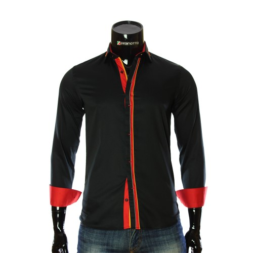 Мужская однотонная приталенная рубашка LF 7057-2