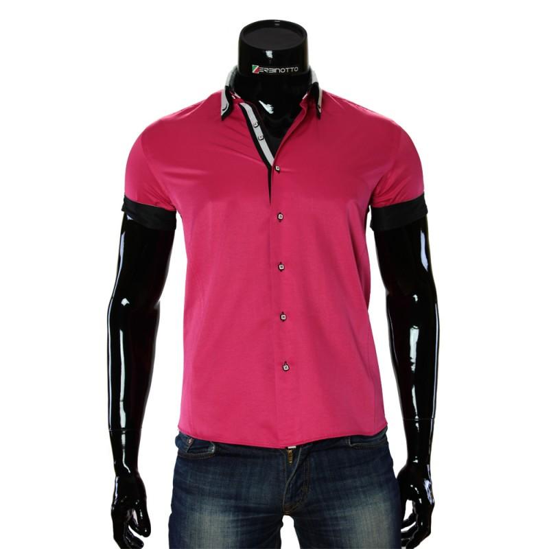 Чоловіча однотонна сорочка з коротким рукавом MM 919-2