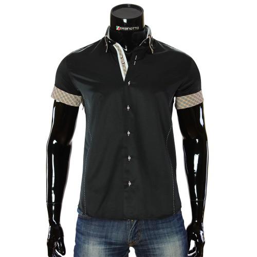 Мужская однотонная рубашка с коротким рукавом MM 919-3