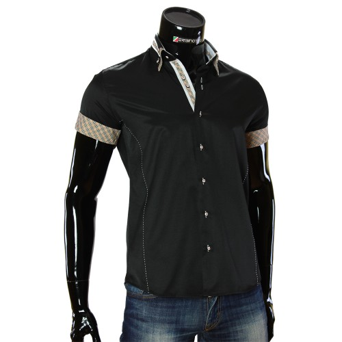 Men`s Slim Fit plain shirt with short sleeve MM 919-3