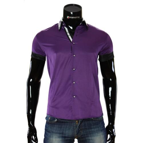 Мужская однотонная рубашка с коротким рукавом MM 919-4