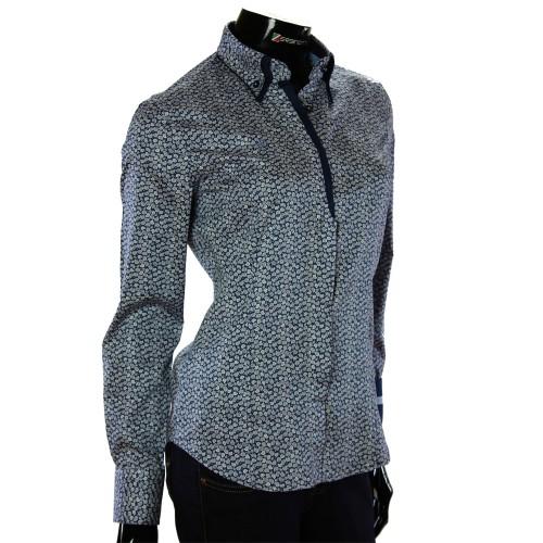 Жіноча приталена сорочка у візерунок TNL 1032-2