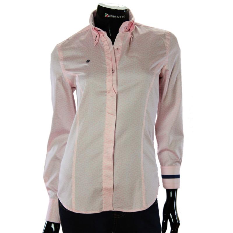 584c52d9894b Женская брендовая рубашка розового цвета с двойным воротом в узор.