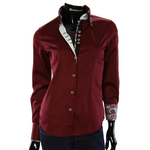 Женская однотонная приталенная рубашка TNL 1033-3