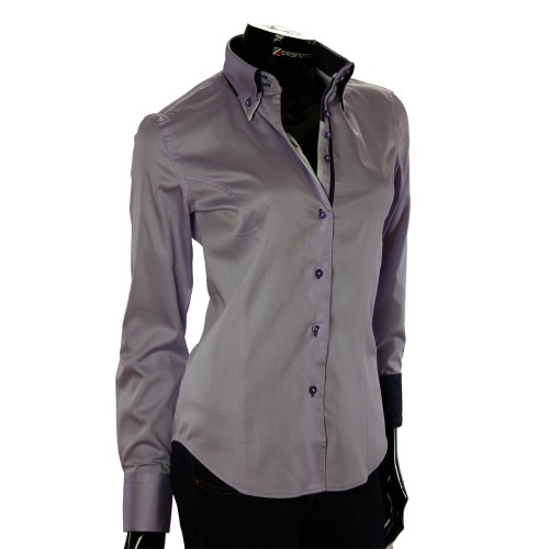 Женская однотонная приталенная рубашка TNL 1034-2