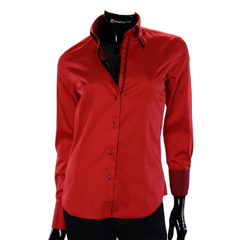 Женская однотонная приталенная рубашка TNL 1034-3