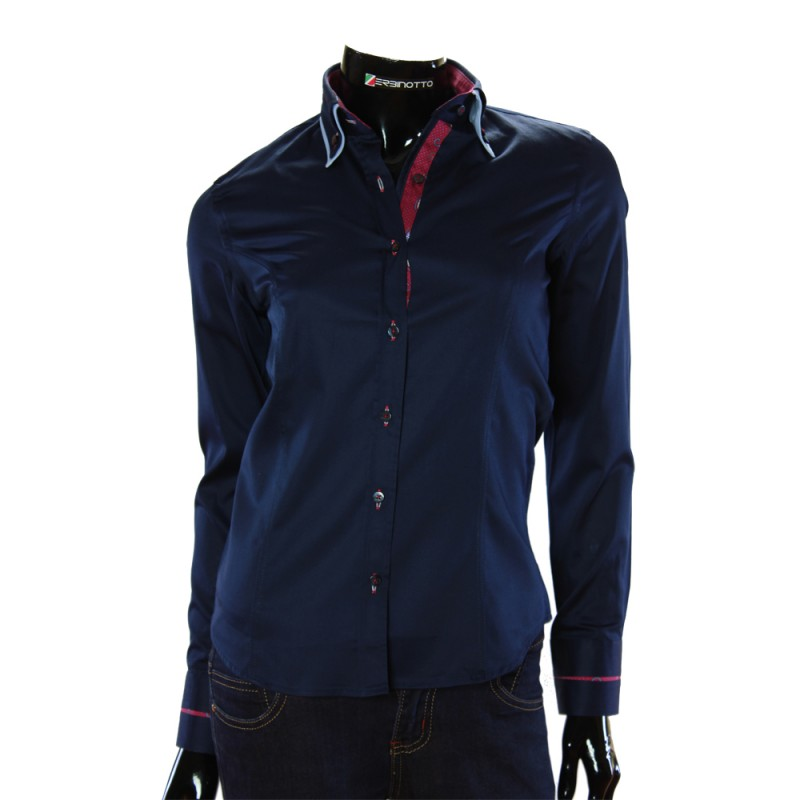 1e1001aa6 Women`s brand shirt in navy color with double collar.
