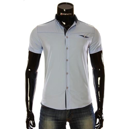 Чоловіча однотонна сорочка з коротким рукавом LL 1022-3
