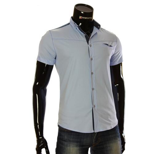 Мужская однотонная рубашка с коротким рукавом LL 1022-3